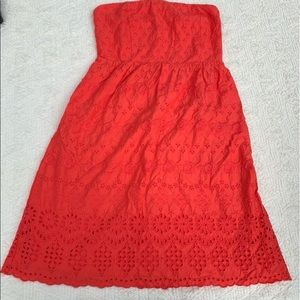 Coral pink eyelet strapless dress size 4 old navy